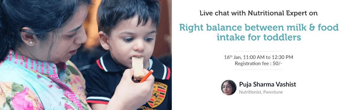 Feeding toddlers Balancing milk and food intake 1 3 years