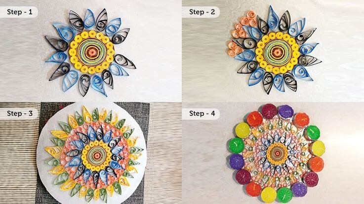 Bonding on the floor Easy do Rangoli ideas