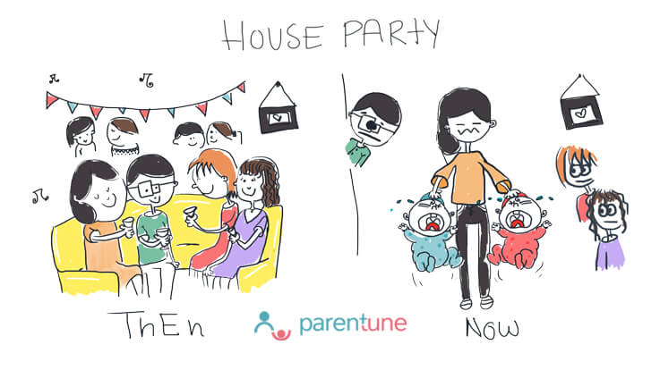 House party with children then and now