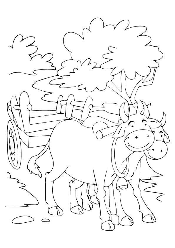 Bull Carrying Cart coloring pages