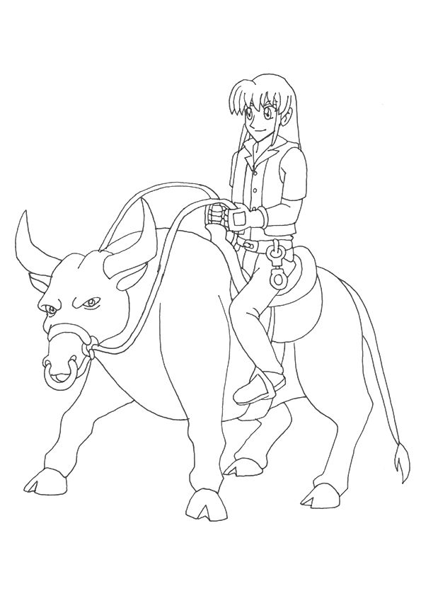 Riding on Bull coloring pages