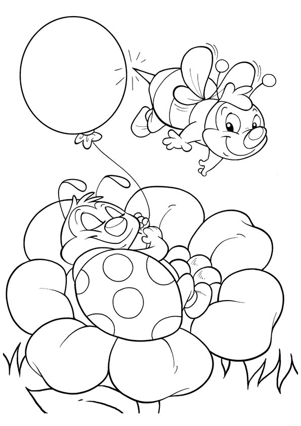 Flower Bee coloring pages