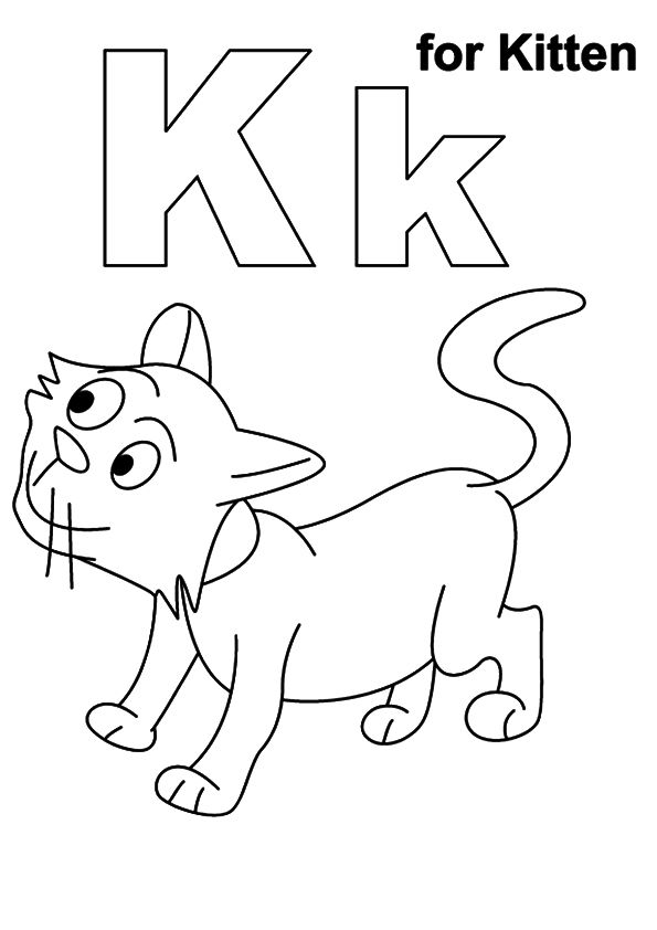 K for kitten coloring pages
