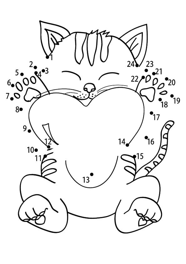 Connect Kitten Dots coloring pages