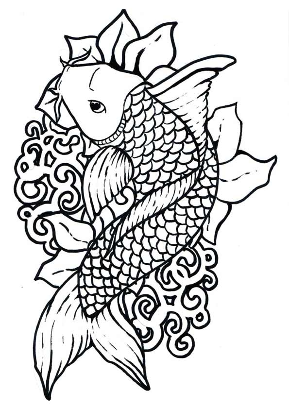 Koifish coloring pages