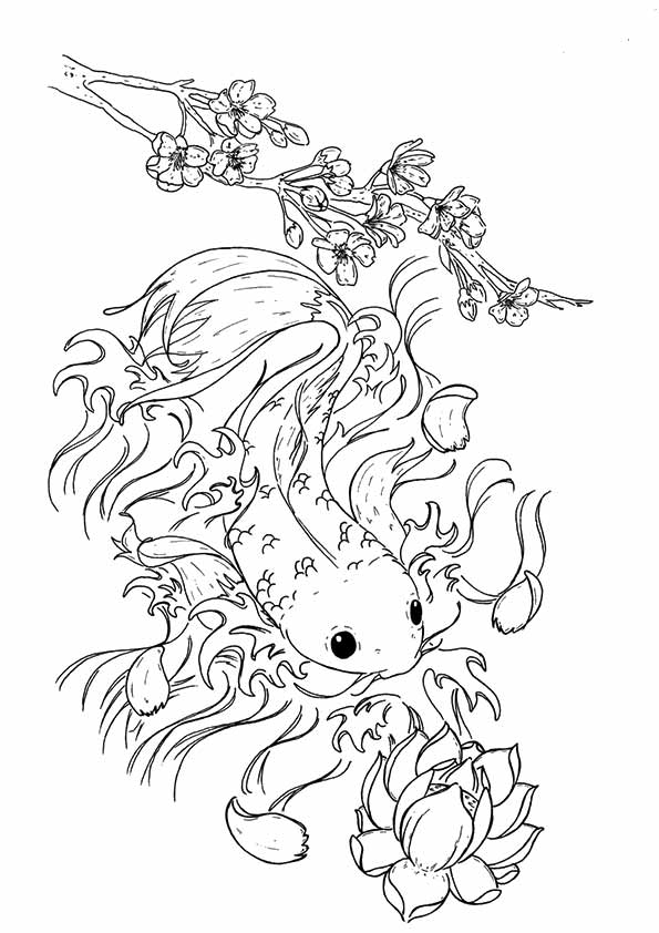 Neogirl Koi Fish  coloring pages