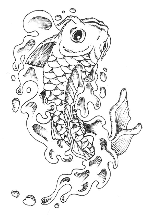 Easy Koi Fish coloring pages