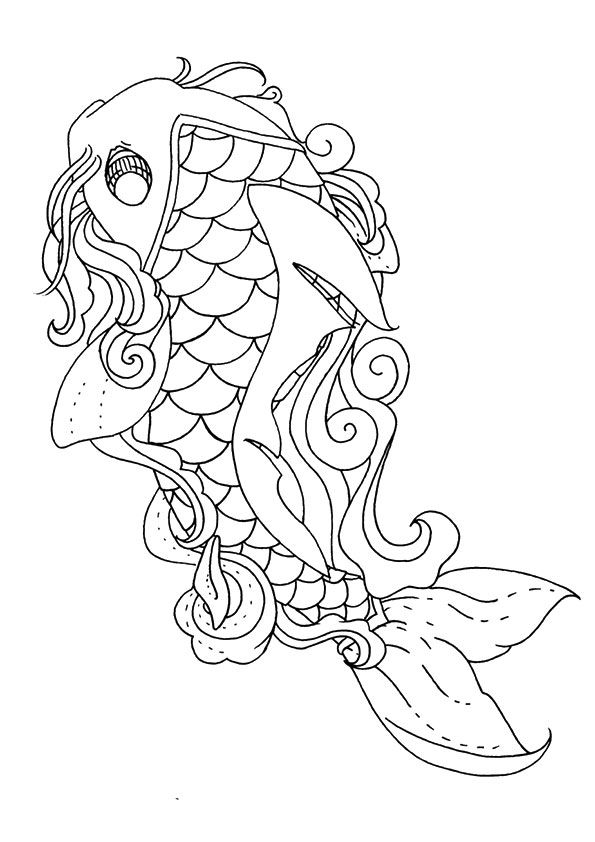 Koi Fish Line-art coloring pages