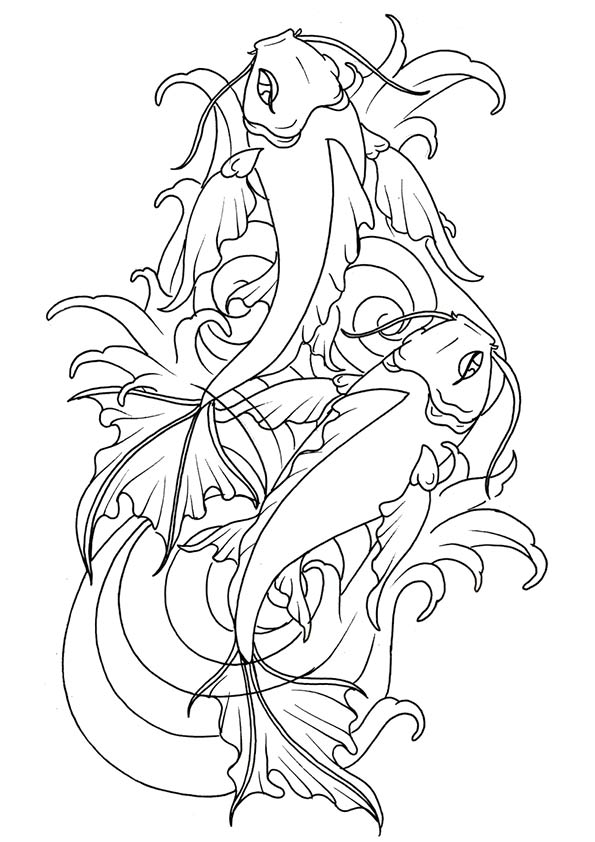 Koi Fish 4 coloring pages