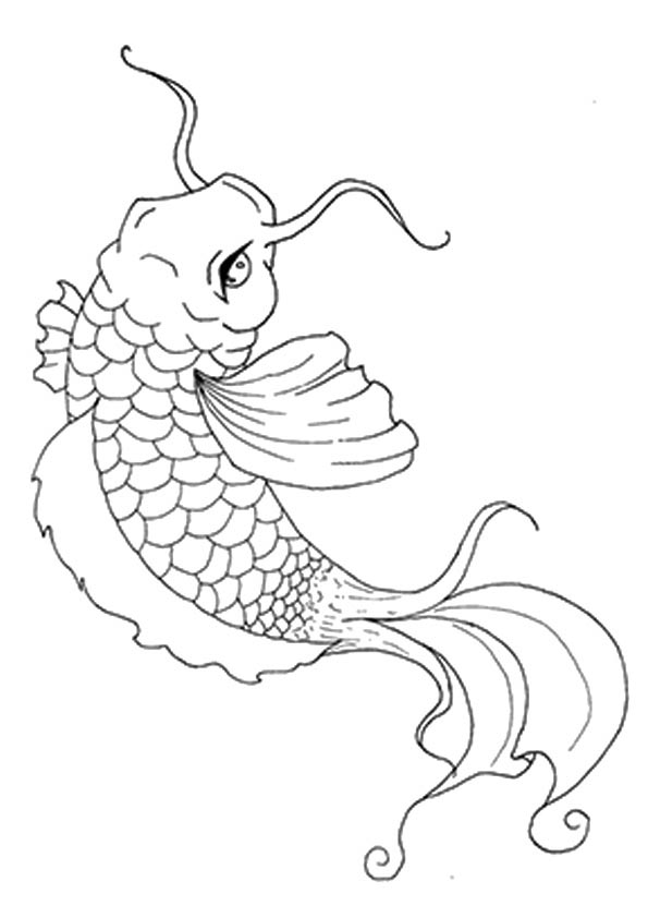 New Japanese Koi Fish coloring pages