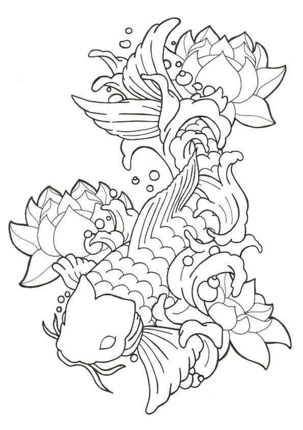 Lotus Koi Fish coloring pages