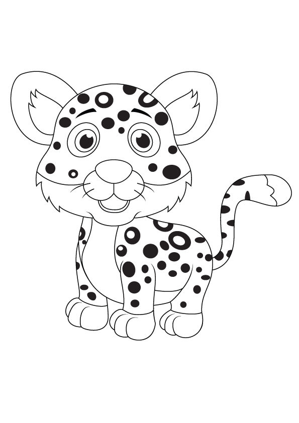 Funny Leopard coloring pages