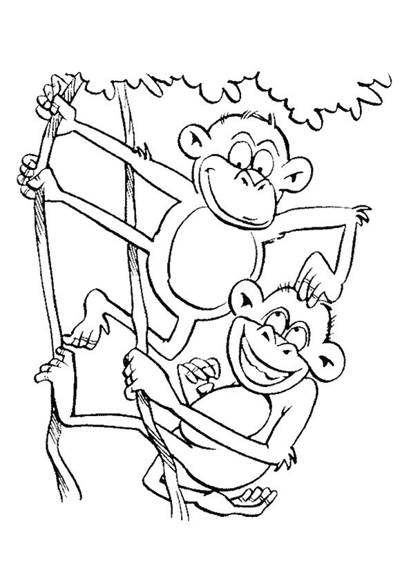 Playing Monkey  coloring pages