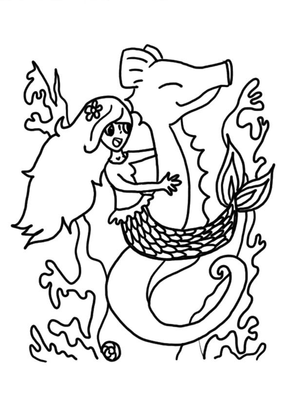 Mermaid on Seahorse coloring pages
