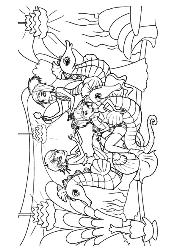 Mermaids & Seahorses coloring pages