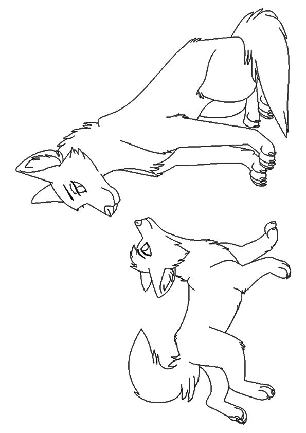 Wolf with Offspring coloring pages