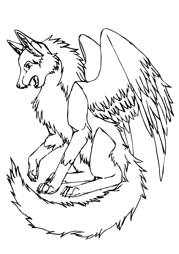 Free & Printable Wolf with Wings Coloring Picture ...