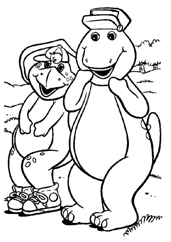 Barney and bj coloring pages