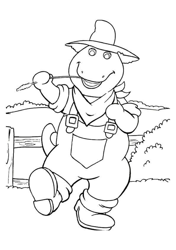 Cowboy barney coloring pages