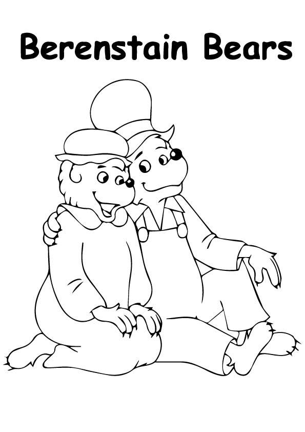 The mama bear and papa bear a sitting coloring pages
