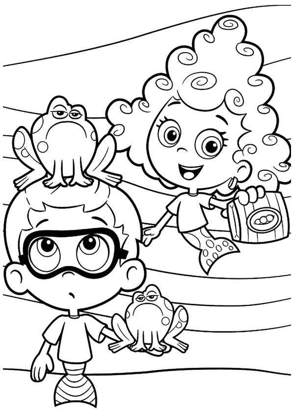 Bubble Guppies & Frog coloring pages