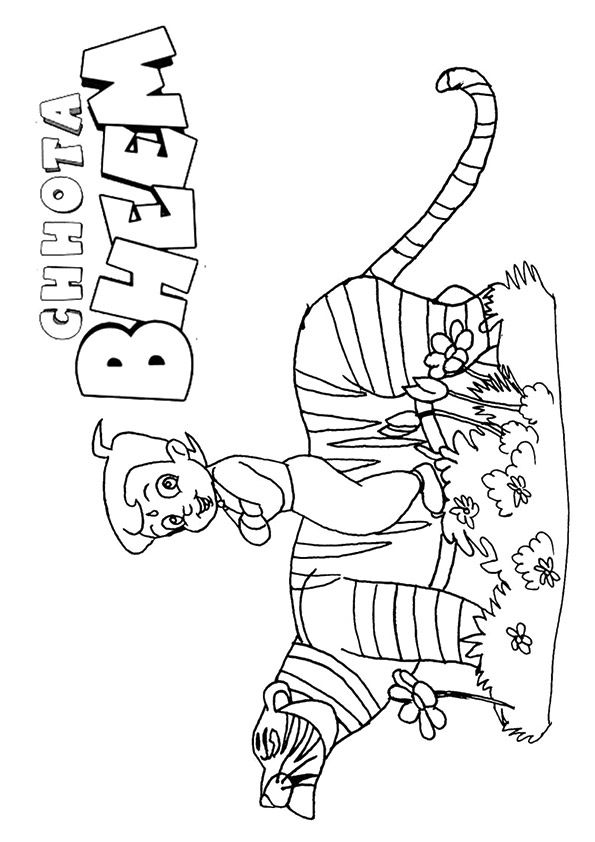 Chhota Bheem & Tiger coloring pages