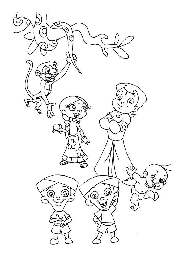Chota Bheem Friends 2 coloring pages