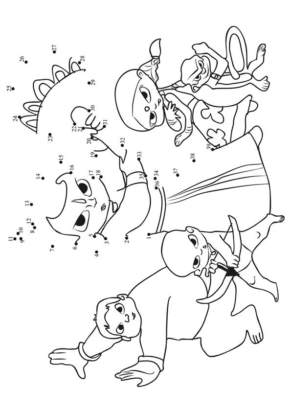 Chhota Bheem Connect Dots coloring pages
