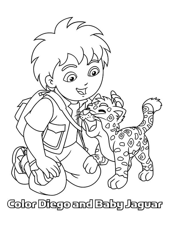 Diego with Jaguar coloring pages
