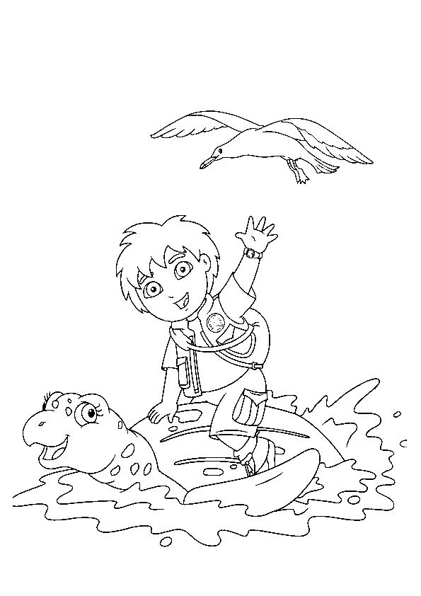Diego with Louie coloring pages