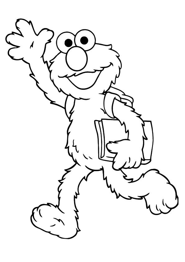 Elmo going to school coloring pages