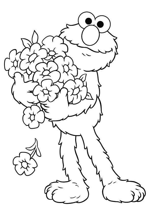 Elmo holding flowers coloring pages