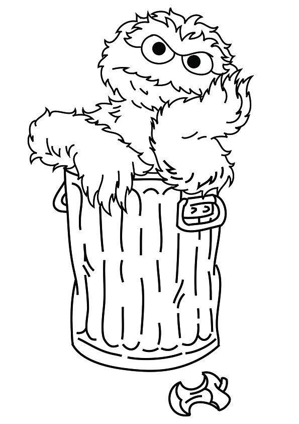 Elmo inside of dustbin coloring pages