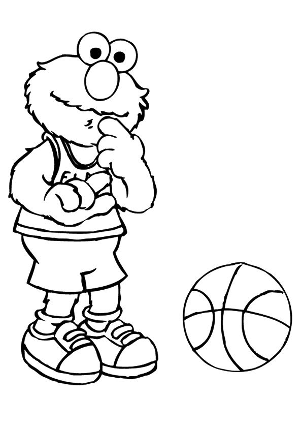 Elmo playing busketball coloring pages