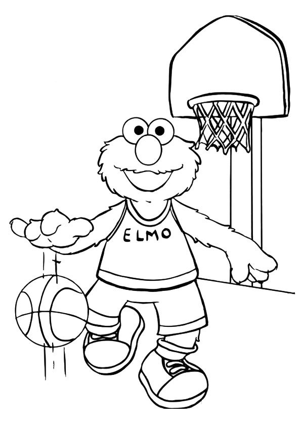 Elmo playing happily with busketball coloring pages