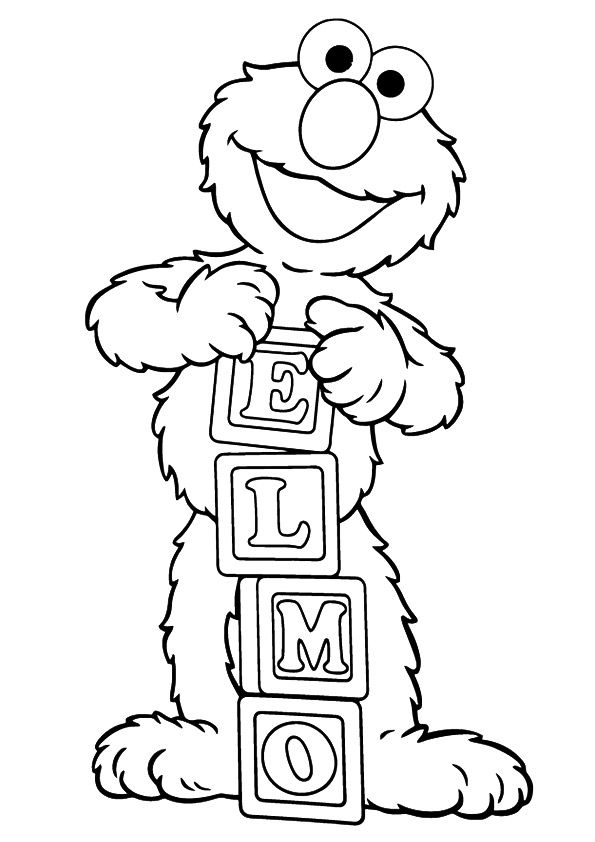 Elmo with alphabet blocks coloring pages