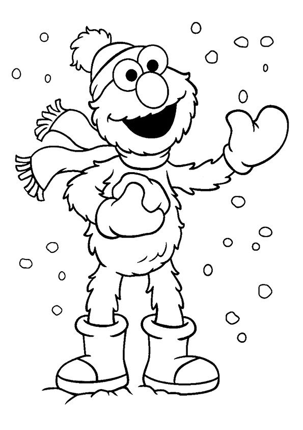 The elmo in winter coloring pages