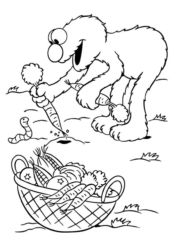 The elmo picking vegetables coloring pages