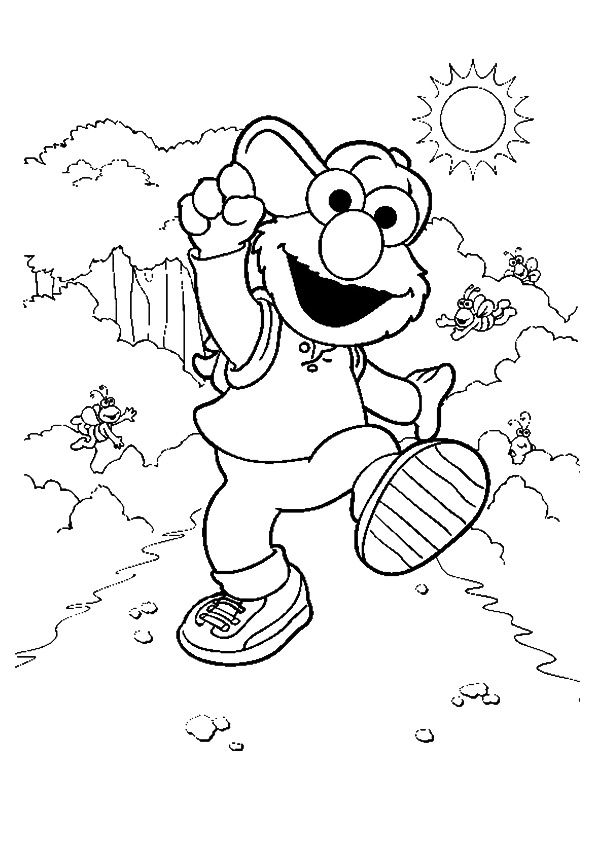 The elmo walking coloring pages