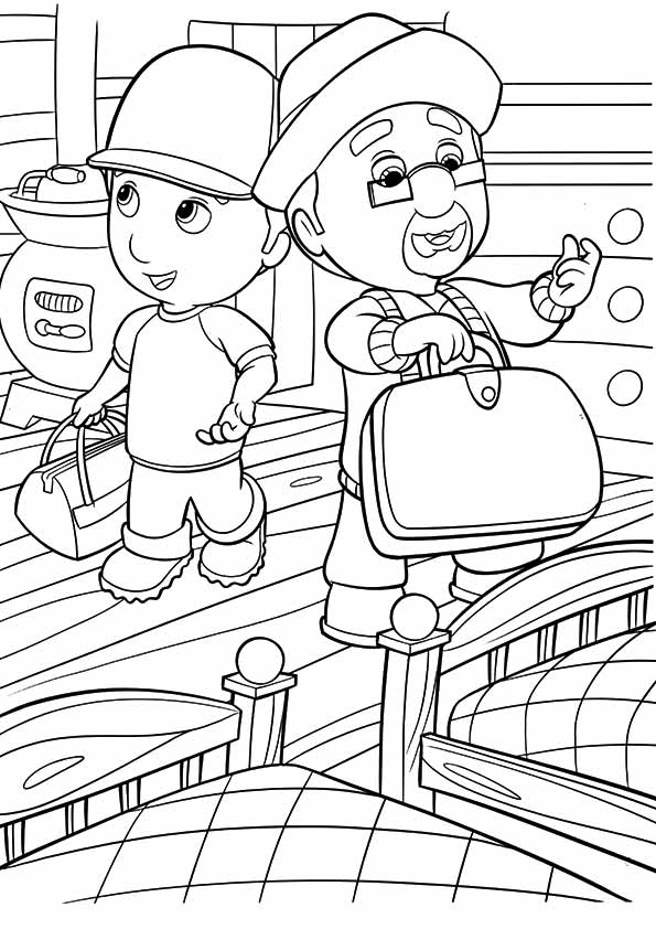 A Handy Manny coloring bed