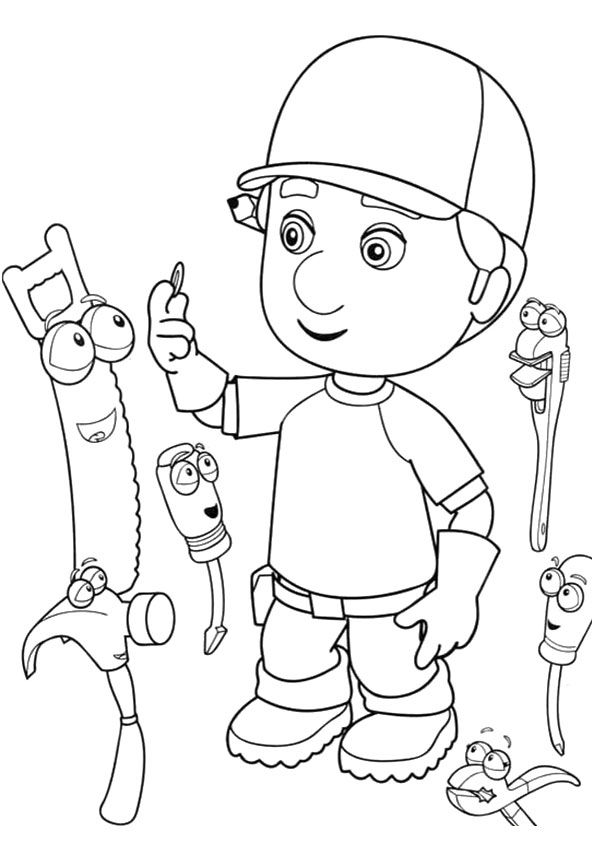 A handy manny printable coloring hammer