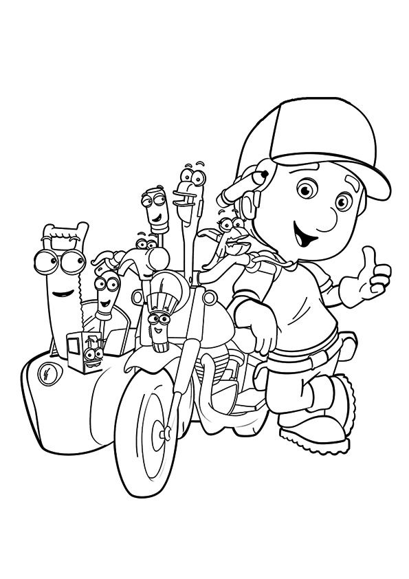 The manny at the construction site coloring pages
