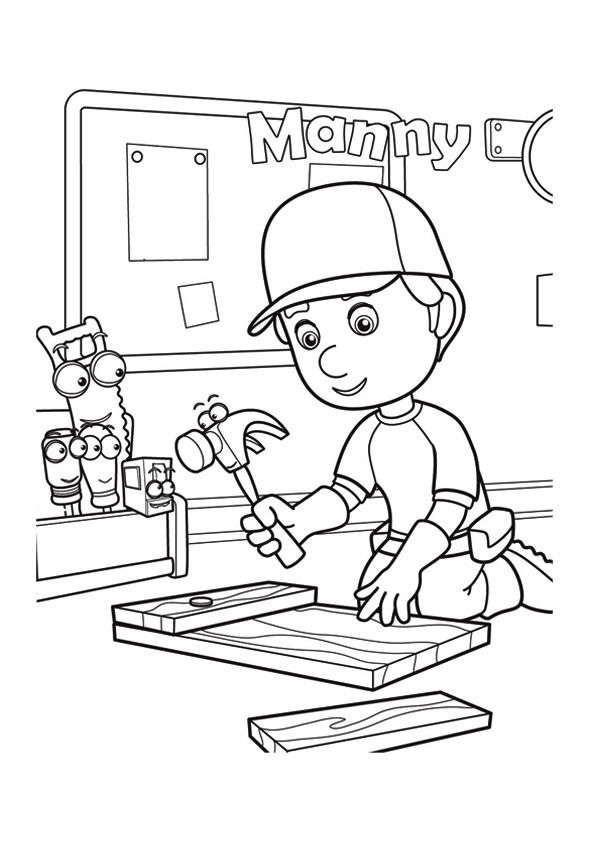The manny works hard coloring pages