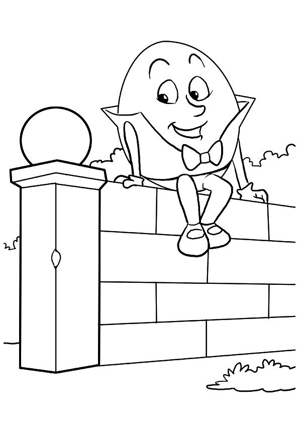 Cute Humpty Sitting On The Wall coloring pages