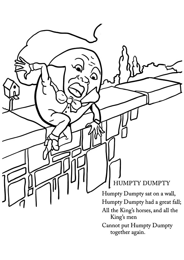 Humpty Dumpty, Kids' rhymes to colour. Free colouring pages ... | 842x595
