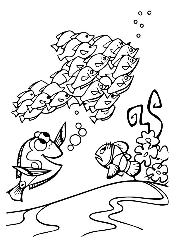 A Cute Finding Nemo Coloring flower coloring pages