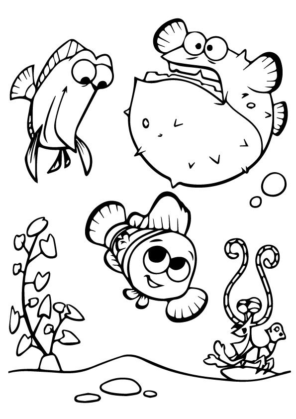 A Cute Finding Nemo Coloring tree coloring pages