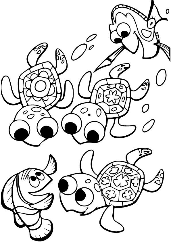 Cute Finding Nemo Coloring Group coloring pages