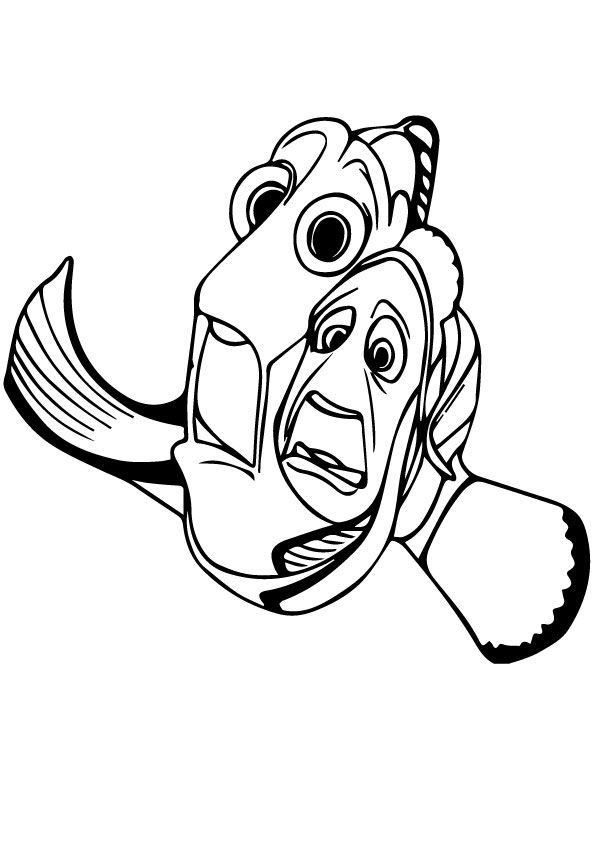 Dory and Marlin running coloring pages