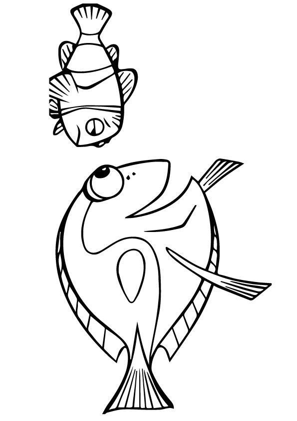 Dory and marlin are Sad coloring pages